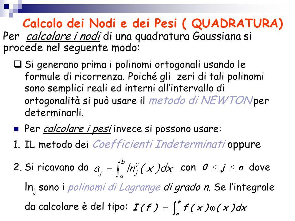Calcolo dei Nodi e dei Pesi ( QUADRATURA)