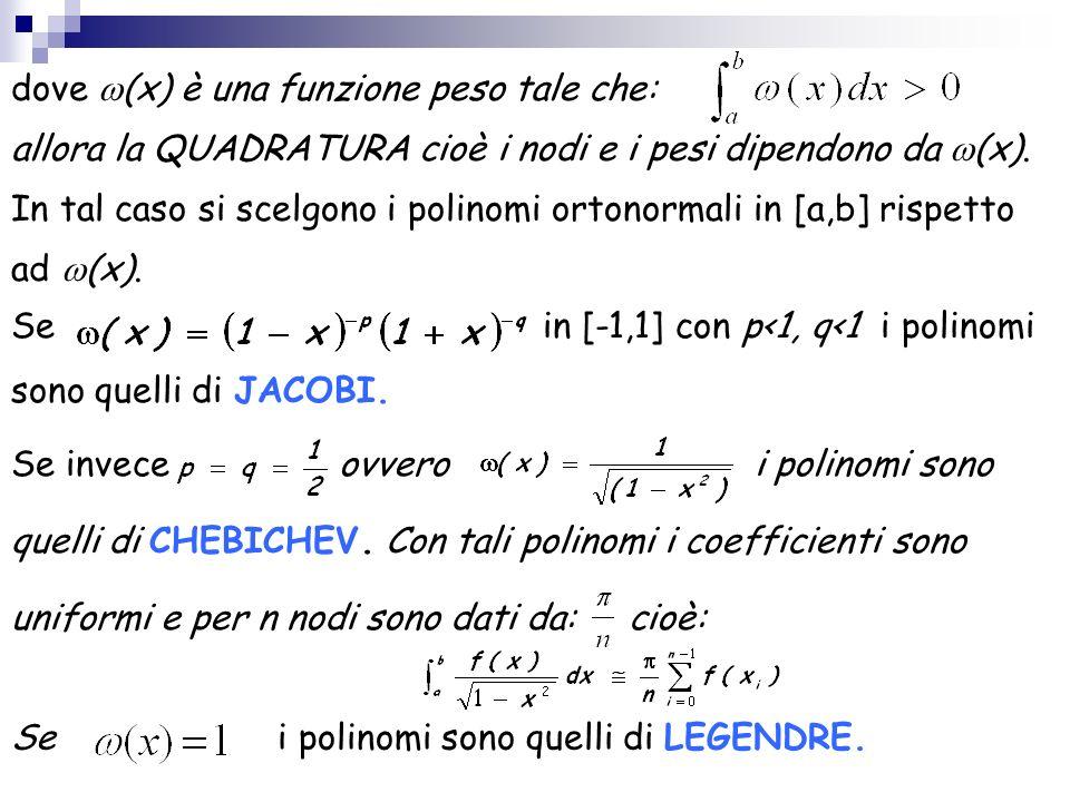 dove (x) è una funzione peso tale che: