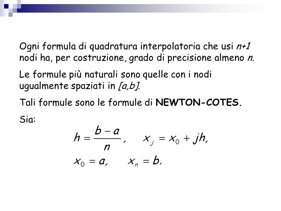 Ogni formula di quadratura interpolatoria che usi n+1 nodi ha, per costruzione, grado di precisione almeno n.