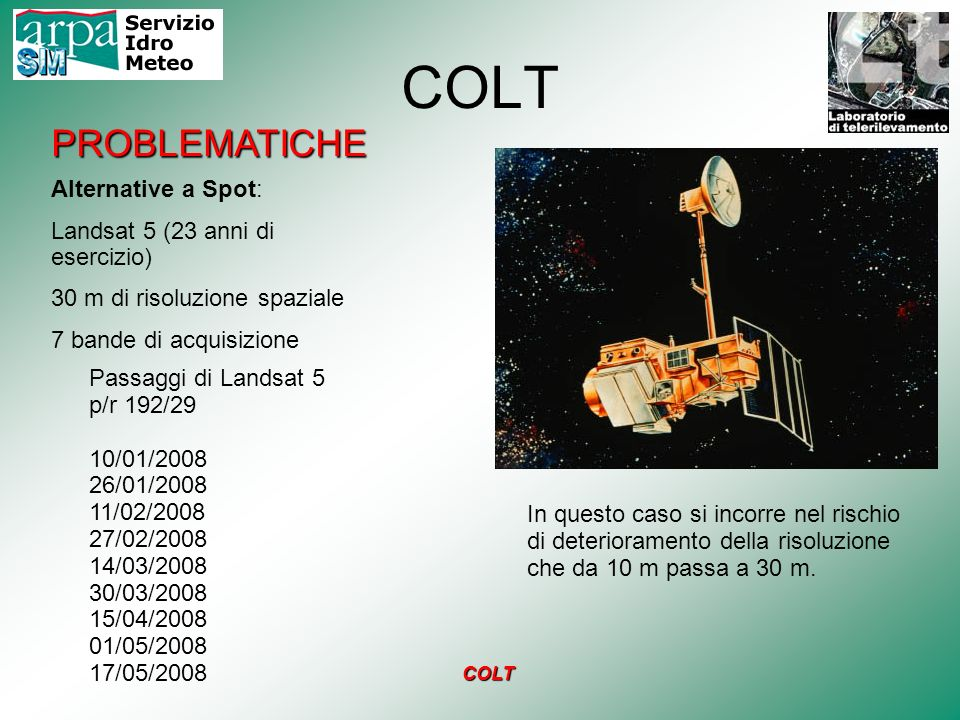 COLT PROBLEMATICHE Alternative a Spot: