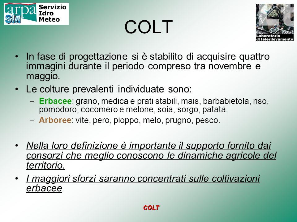COLT In fase di progettazione si è stabilito di acquisire quattro immagini durante il periodo compreso tra novembre e maggio.