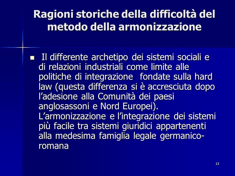 Ragioni storiche della difficoltà del metodo della armonizzazione