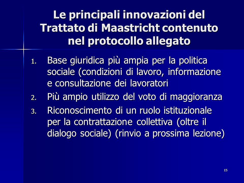 Le principali innovazioni del Trattato di Maastricht contenuto nel protocollo allegato