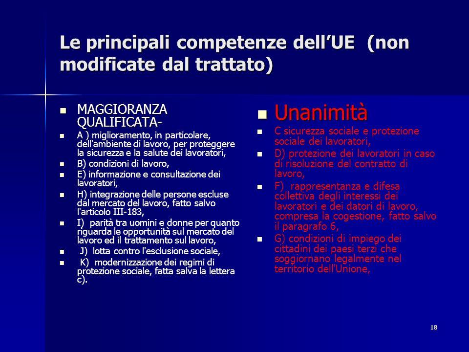 Le principali competenze dell'UE (non modificate dal trattato)