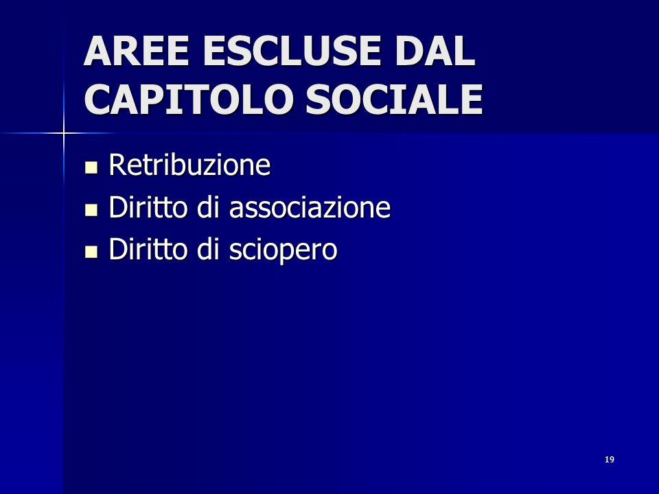 AREE ESCLUSE DAL CAPITOLO SOCIALE