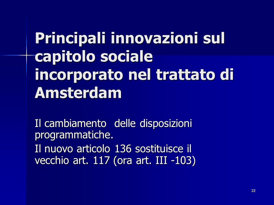 Principali innovazioni sul capitolo sociale incorporato nel trattato di Amsterdam
