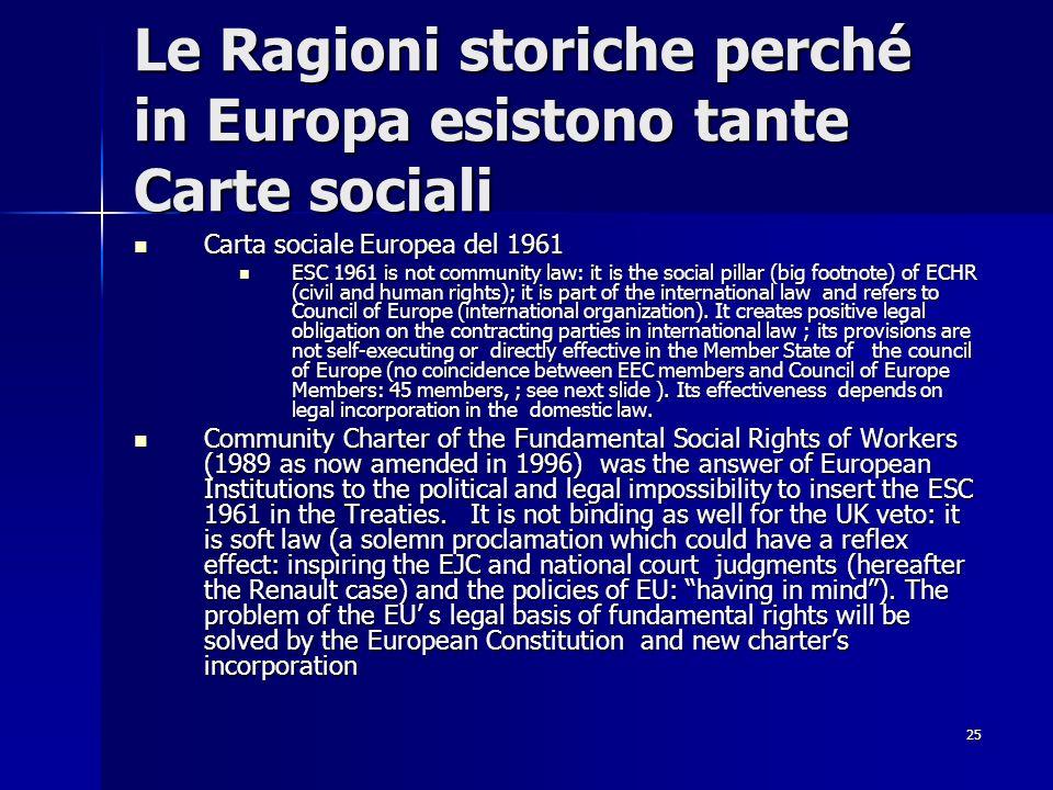 Le Ragioni storiche perché in Europa esistono tante Carte sociali