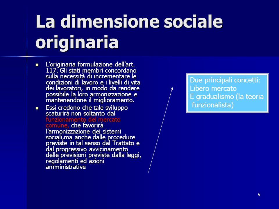 La dimensione sociale originaria