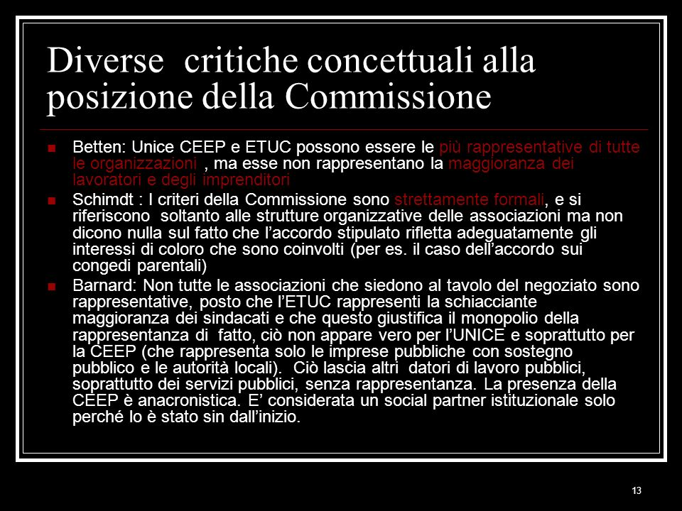 Diverse critiche concettuali alla posizione della Commissione