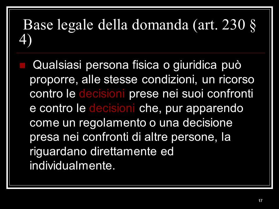 Base legale della domanda (art. 230 § 4)
