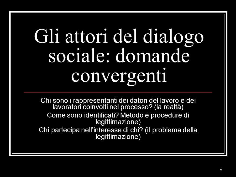 Gli attori del dialogo sociale: domande convergenti