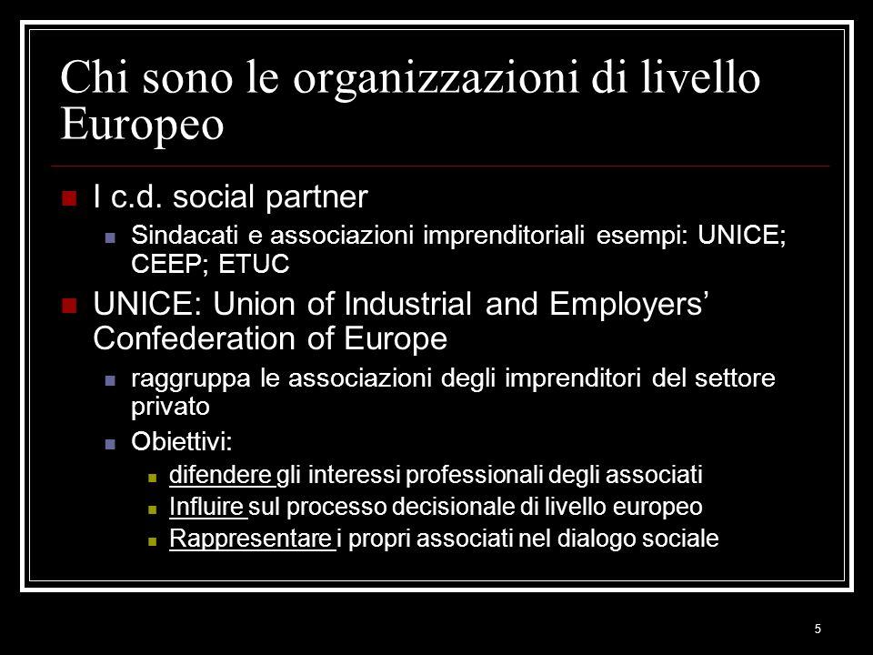 Chi sono le organizzazioni di livello Europeo