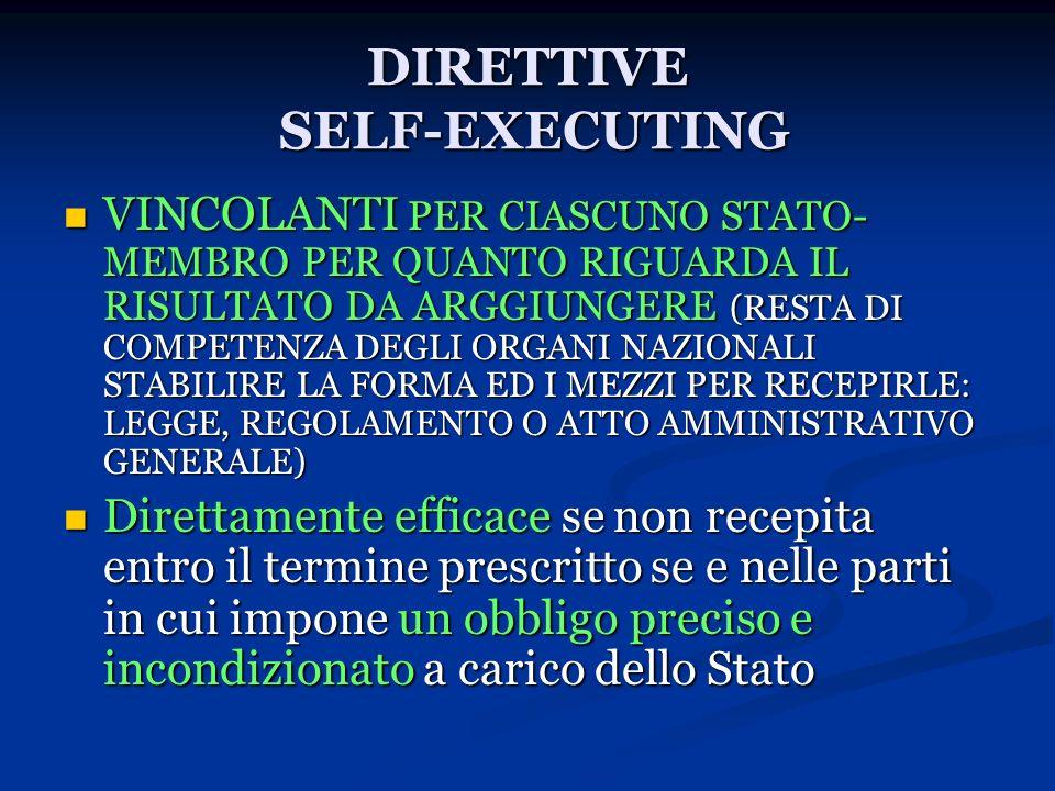DIRETTIVE SELF-EXECUTING
