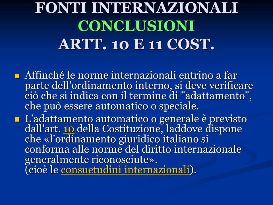 FONTI INTERNAZIONALI CONCLUSIONI ARTT. 10 E 11 COST.