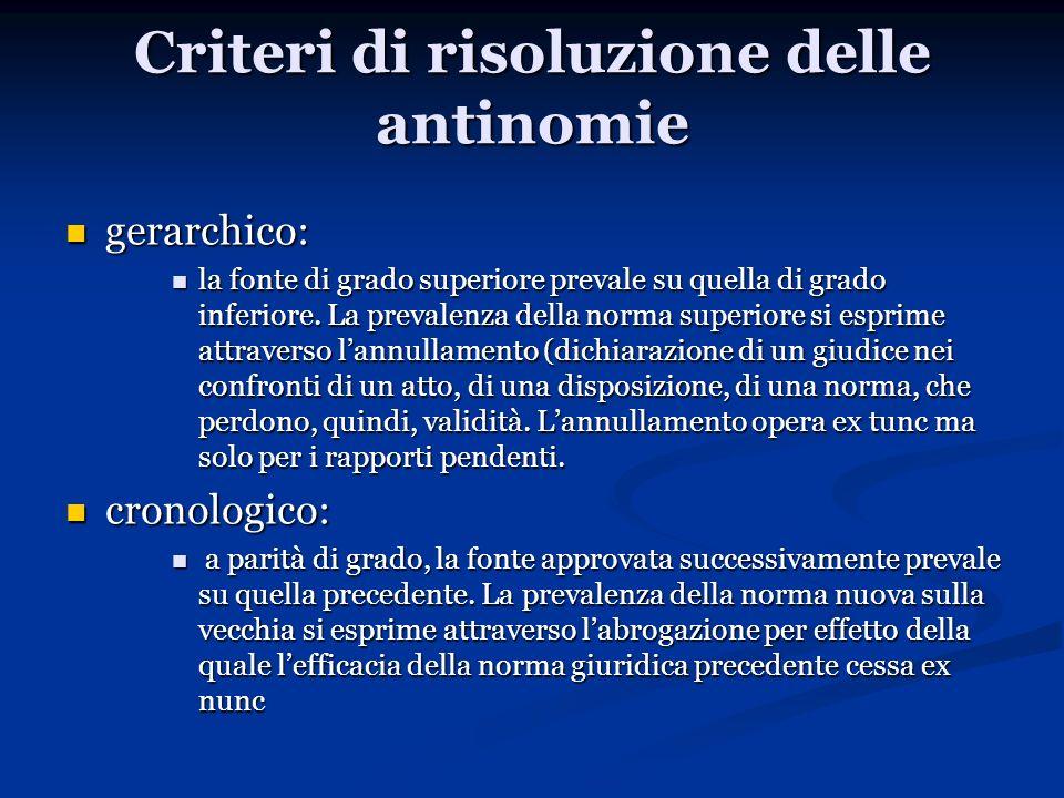 Criteri di risoluzione delle antinomie