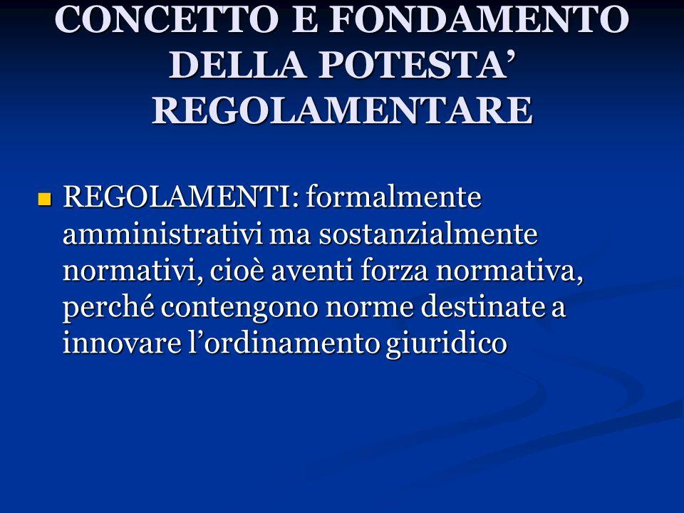 CONCETTO E FONDAMENTO DELLA POTESTA' REGOLAMENTARE