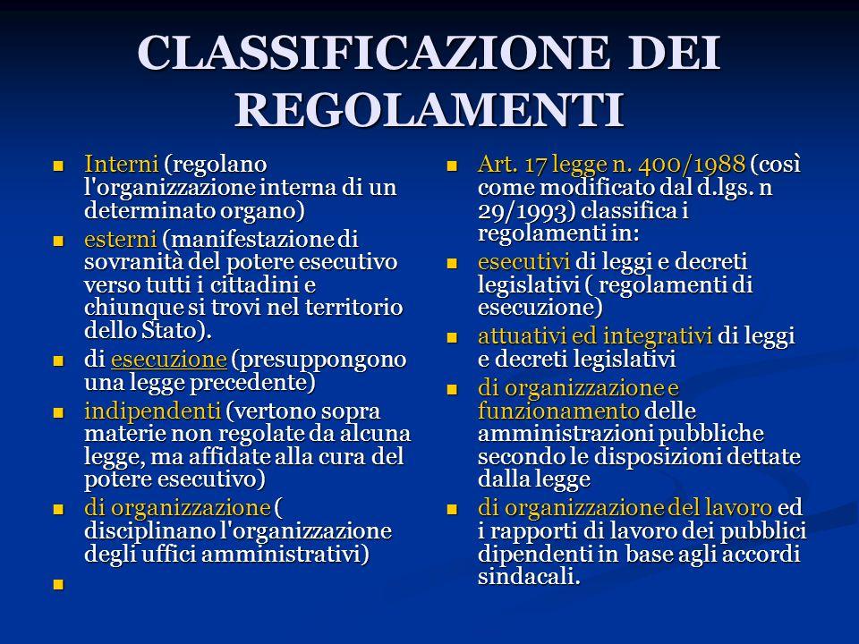CLASSIFICAZIONE DEI REGOLAMENTI