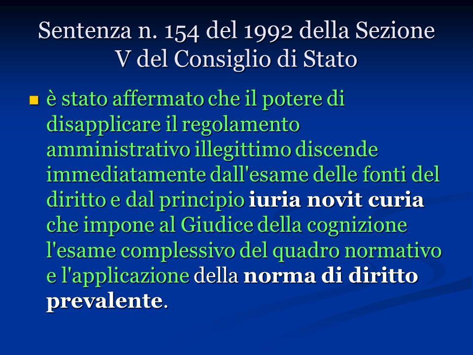 Sentenza n. 154 del 1992 della Sezione V del Consiglio di Stato