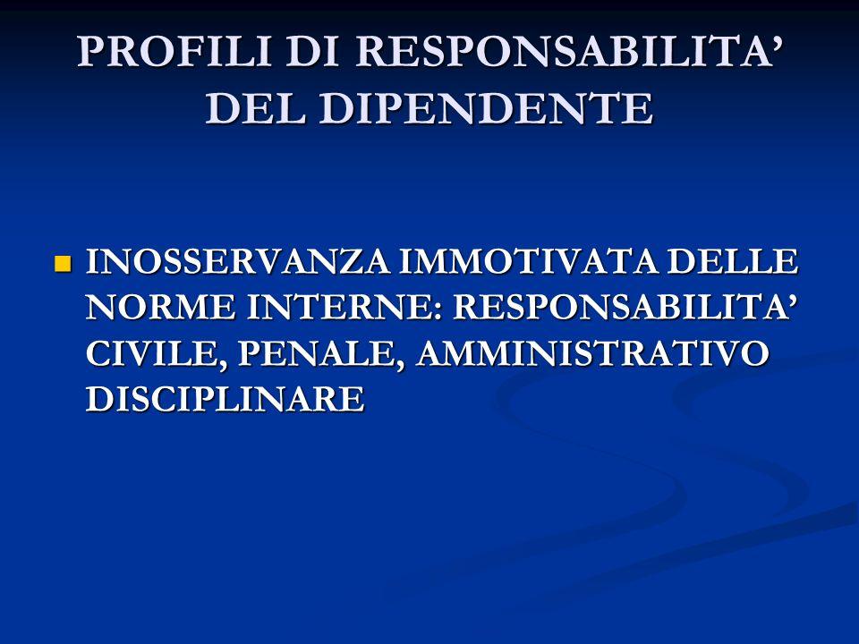 PROFILI DI RESPONSABILITA' DEL DIPENDENTE