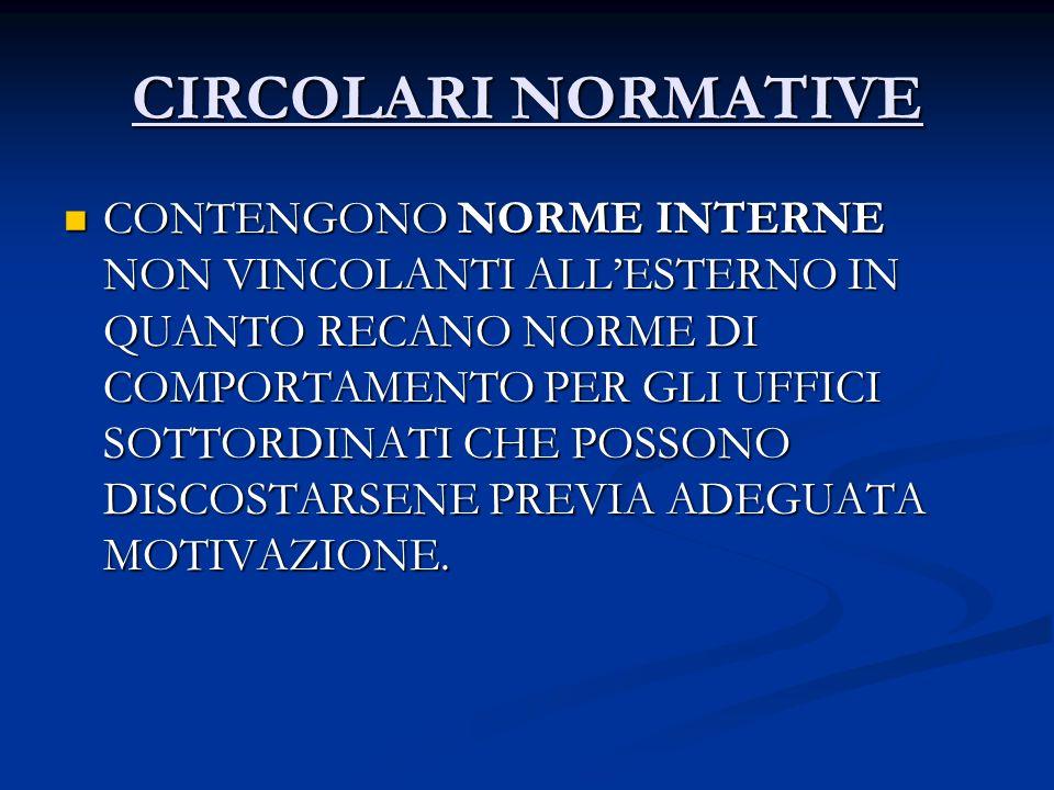 CIRCOLARI NORMATIVE