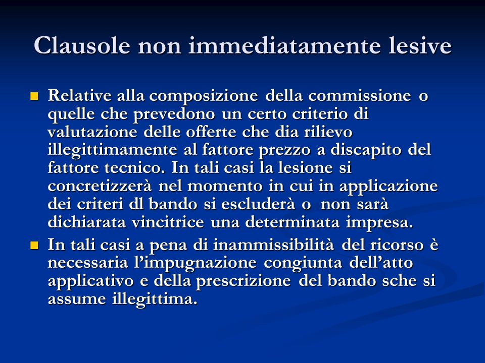Clausole non immediatamente lesive
