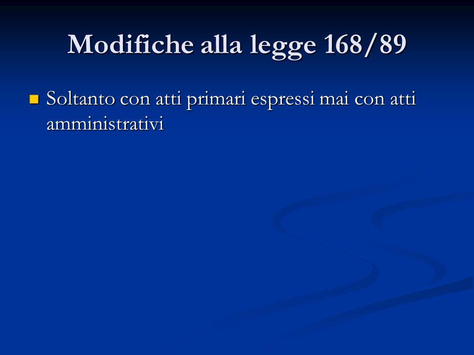 Modifiche alla legge 168/89 Soltanto con atti primari espressi mai con atti amministrativi