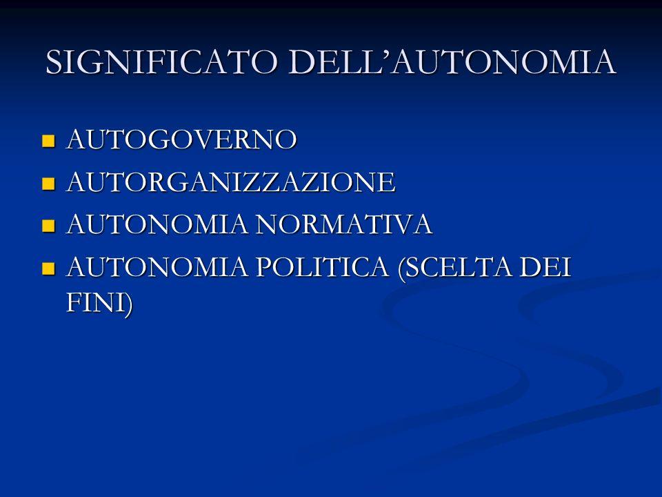 SIGNIFICATO DELL'AUTONOMIA