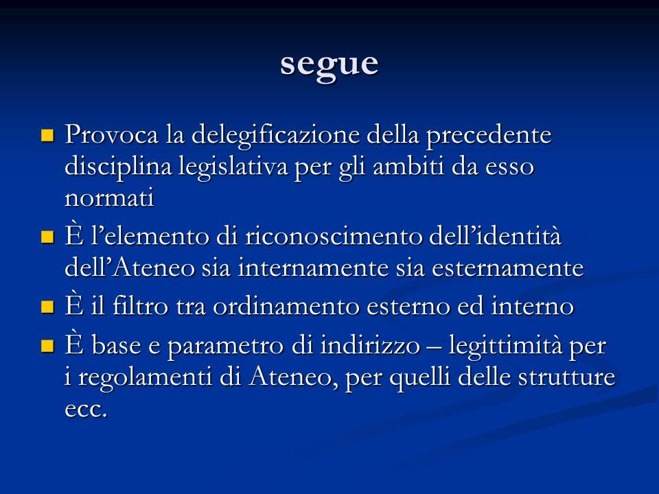 segue Provoca la delegificazione della precedente disciplina legislativa per gli ambiti da esso normati.