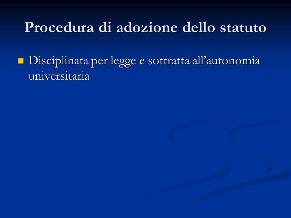 Procedura di adozione dello statuto