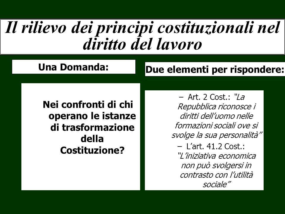 Il rilievo dei principi costituzionali nel diritto del lavoro