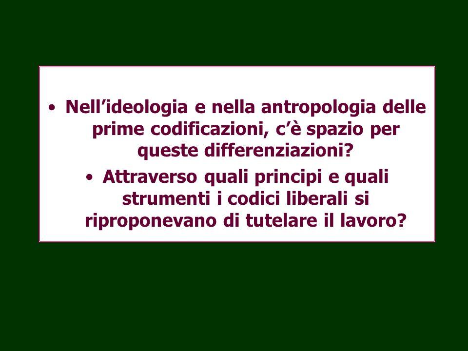 Nell'ideologia e nella antropologia delle prime codificazioni, c'è spazio per queste differenziazioni