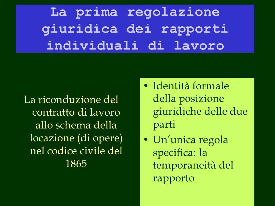 La prima regolazione giuridica dei rapporti individuali di lavoro
