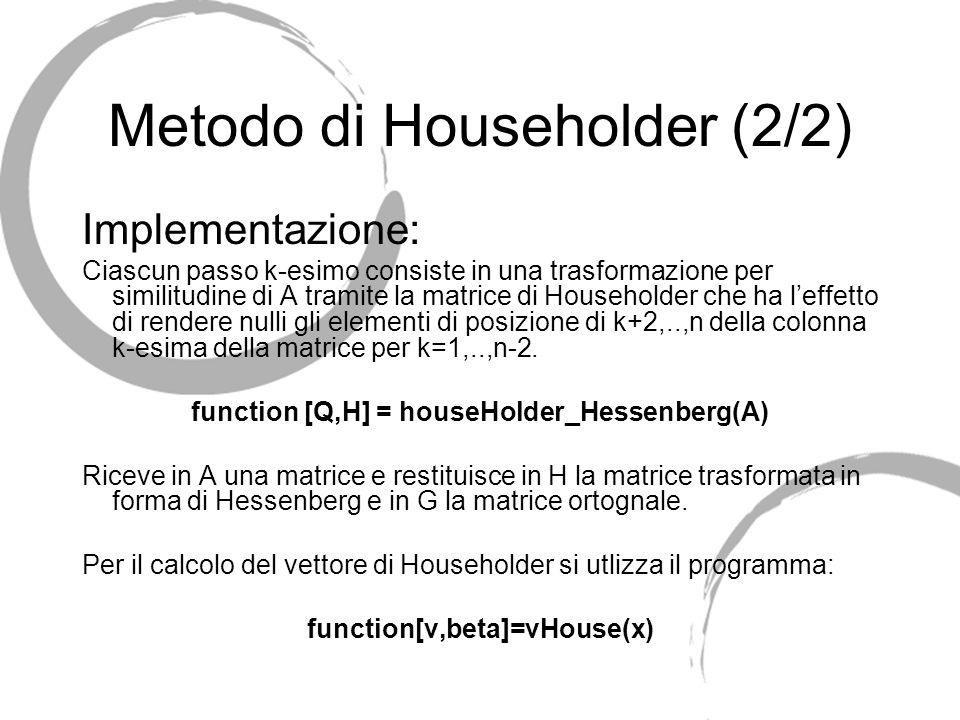 Metodo di Householder (2/2)