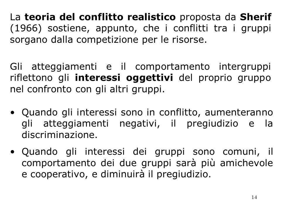 La teoria del conflitto realistico proposta da Sherif (1966) sostiene, appunto, che i conflitti tra i gruppi sorgano dalla competizione per le risorse.