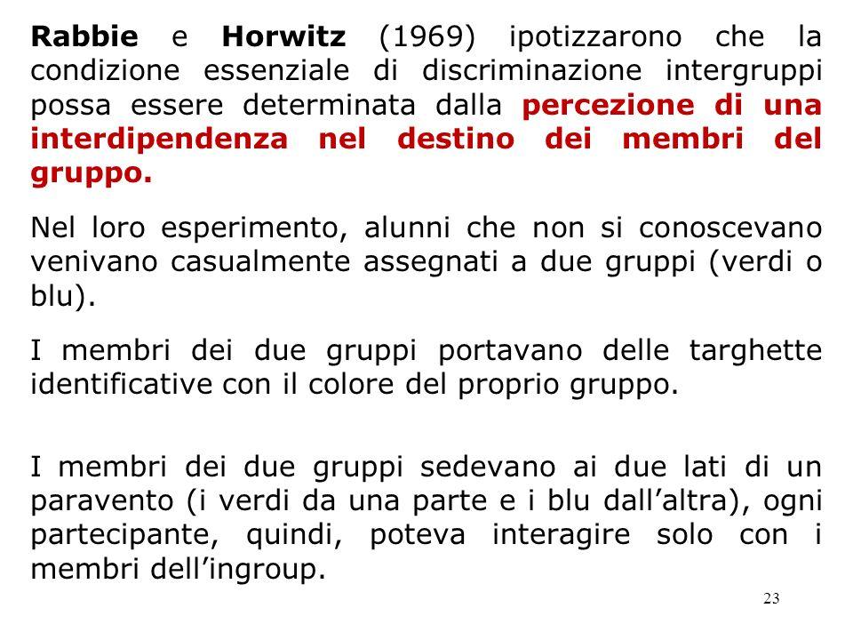 Rabbie e Horwitz (1969) ipotizzarono che la condizione essenziale di discriminazione intergruppi possa essere determinata dalla percezione di una interdipendenza nel destino dei membri del gruppo.