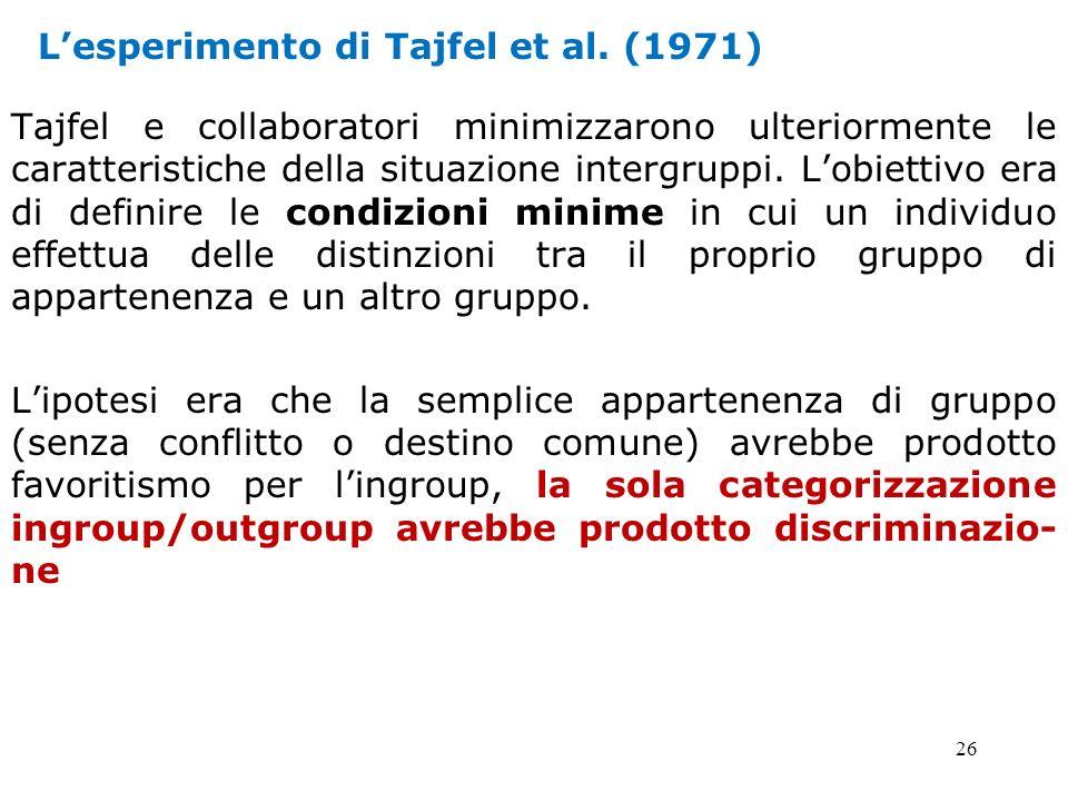 L'esperimento di Tajfel et al. (1971)