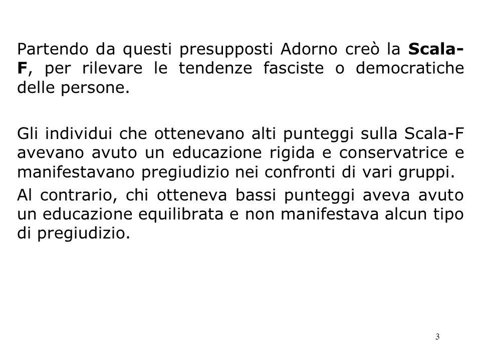 Partendo da questi presupposti Adorno creò la Scala-F, per rilevare le tendenze fasciste o democratiche delle persone.