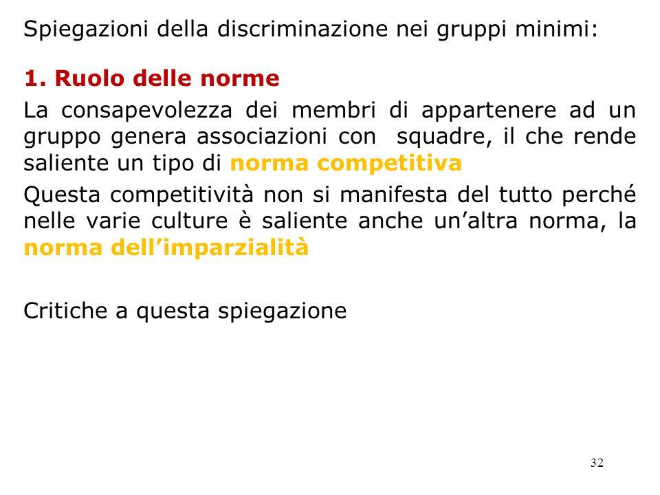 Spiegazioni della discriminazione nei gruppi minimi:
