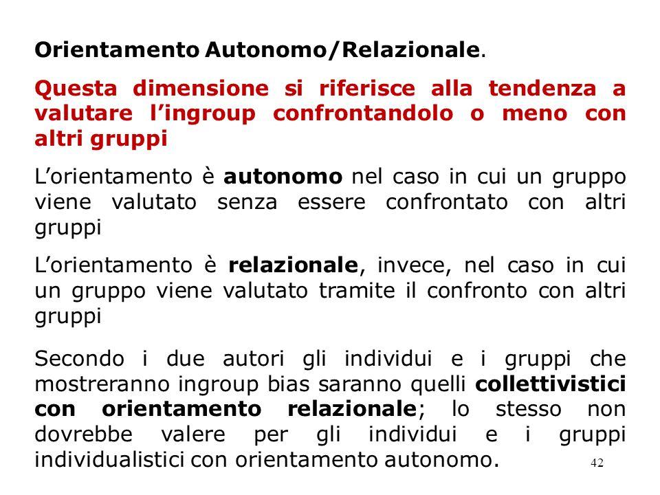Orientamento Autonomo/Relazionale.