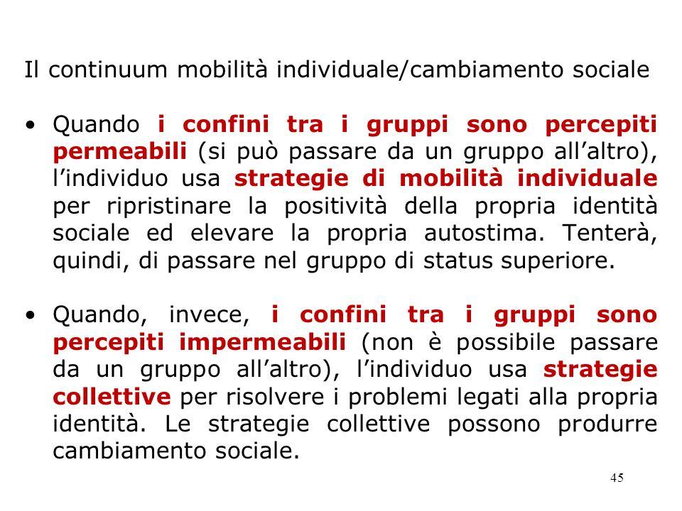 Il continuum mobilità individuale/cambiamento sociale