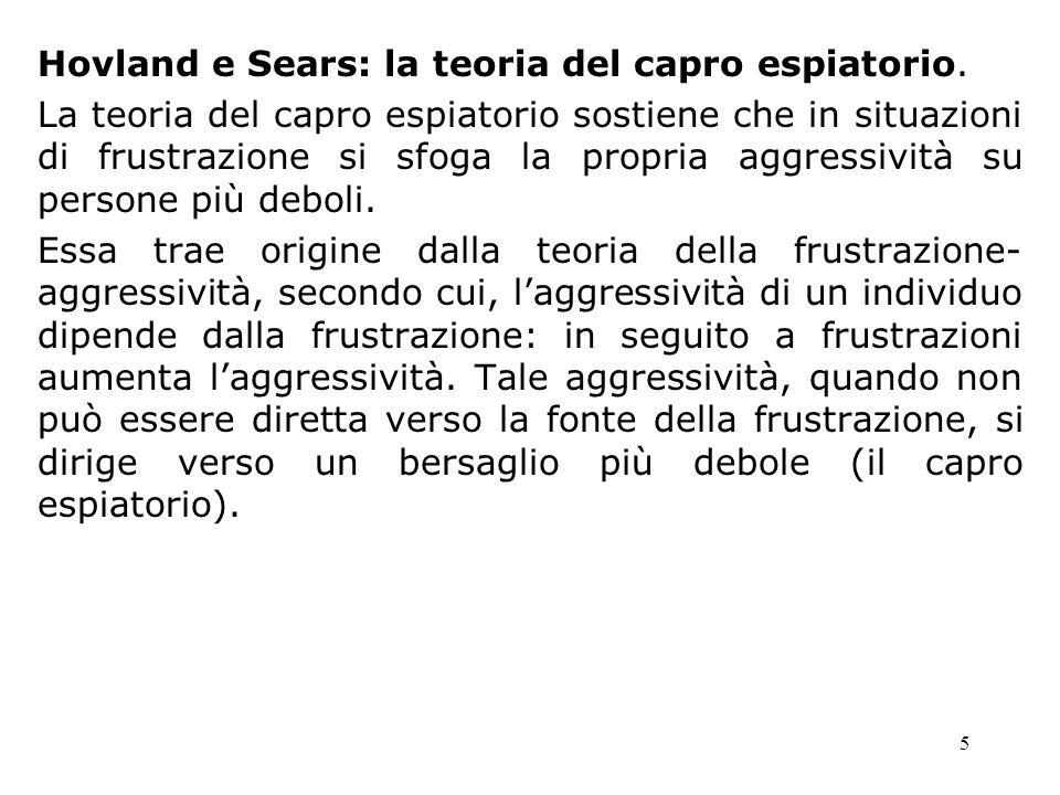 Hovland e Sears: la teoria del capro espiatorio.