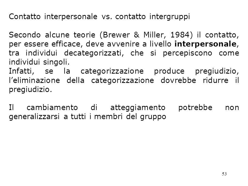 Contatto interpersonale vs. contatto intergruppi