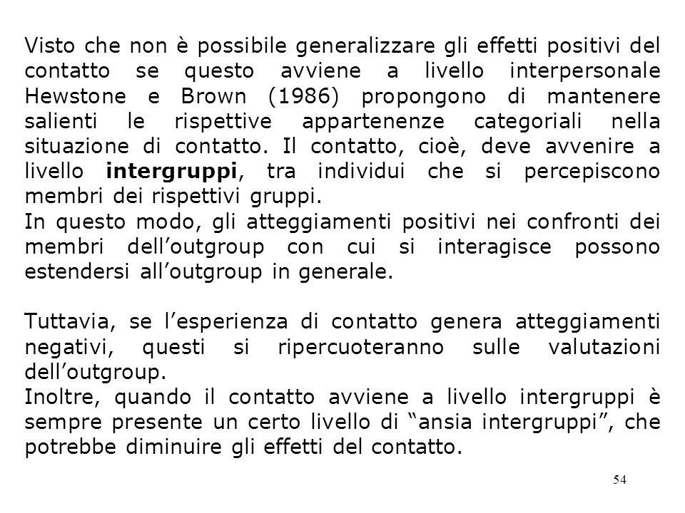 Visto che non è possibile generalizzare gli effetti positivi del contatto se questo avviene a livello interpersonale Hewstone e Brown (1986) propongono di mantenere salienti le rispettive appartenenze categoriali nella situazione di contatto. Il contatto, cioè, deve avvenire a livello intergruppi, tra individui che si percepiscono membri dei rispettivi gruppi.