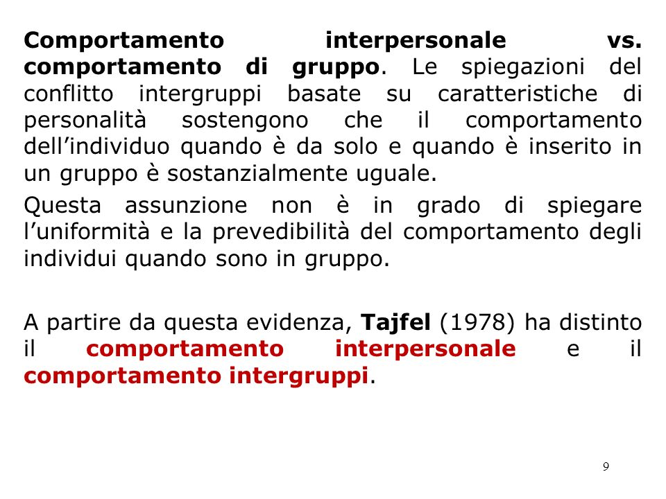 Comportamento interpersonale vs. comportamento di gruppo