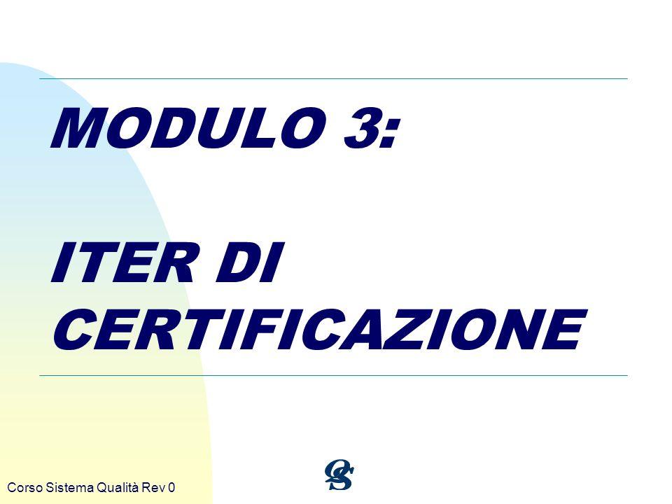 MODULO 3: ITER DI CERTIFICAZIONE