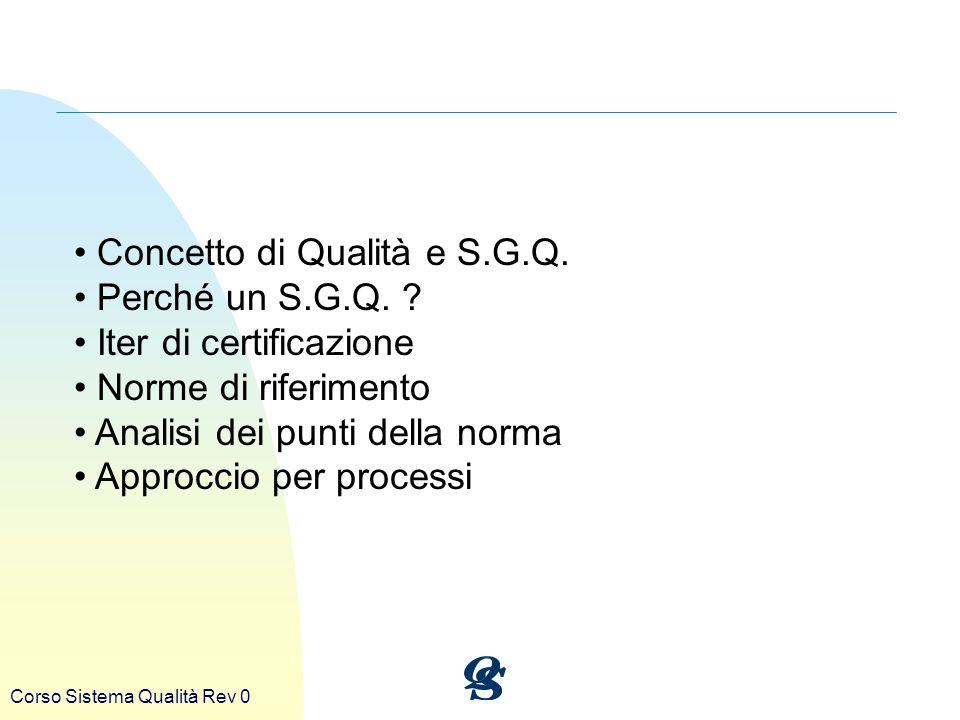 Concetto di Qualità e S.G.Q. Perché un S.G.Q. Iter di certificazione