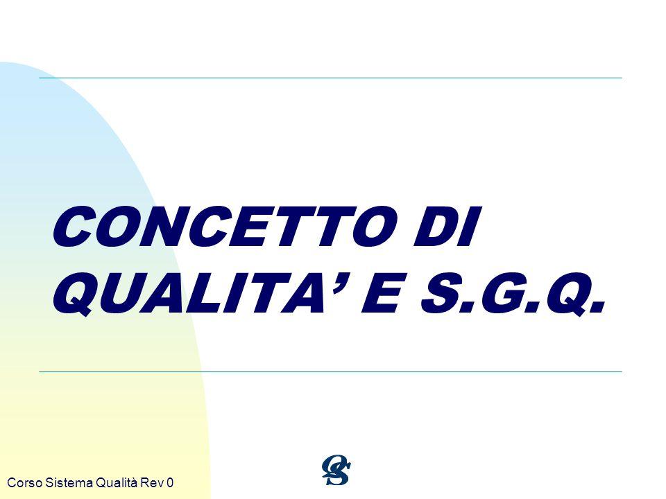 CONCETTO DI QUALITA' E S.G.Q.