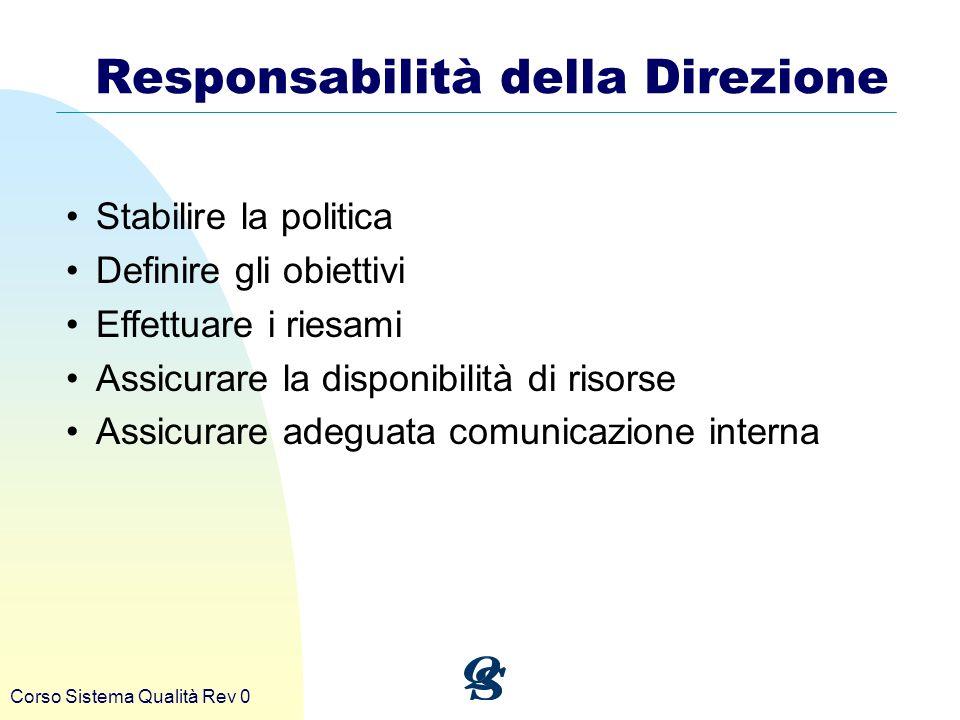 Responsabilità della Direzione