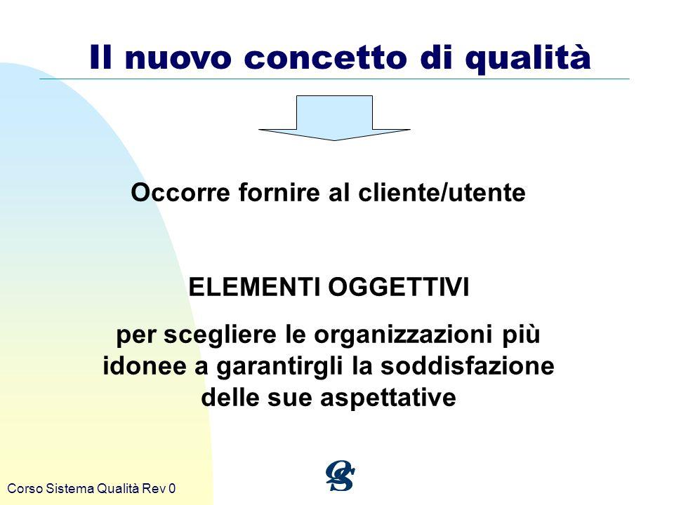 Il nuovo concetto di qualità Occorre fornire al cliente/utente