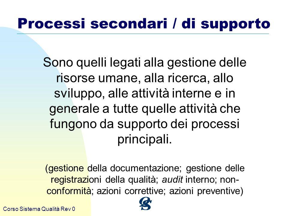 Processi secondari / di supporto